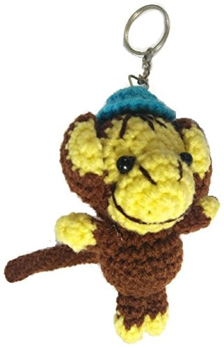 [Chic Cute 2 in 1 Hand Knit Keychain Doll, Brown with Blue Cap Hat Monkey] (Broken Doll Costume For Adults)