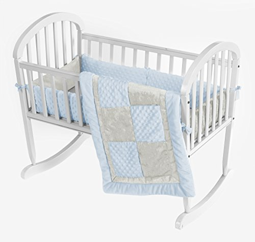 Baby Doll Croco Minky Cradle Bedding Set, Blue/Ivory (Minky Cradle Bumper)