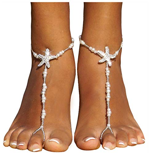 Bienvenu Beach Wedding Barefoot Sandals Ivory Pearl Anklet with Starfish Foot Jewelry, Starfish