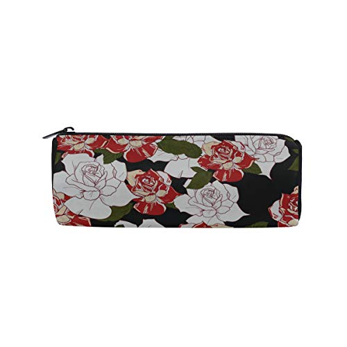 Black and Red Leaves and Peony Flowers Students Super Large Capacity Barrel Pencil Case Pen Bag Cotton Pouch Holder Makeup Cosmetic Bag for Kids