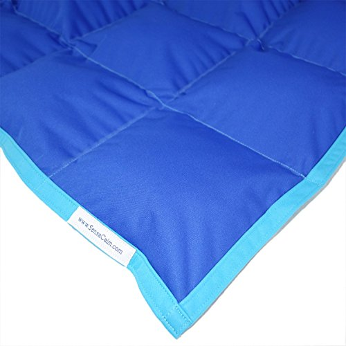 SensaCalm Therapeutic Medium Weighted Blanket - Dazzling Blue with Scuba Blue-10 lb -for 80 lb child by SensaCalm