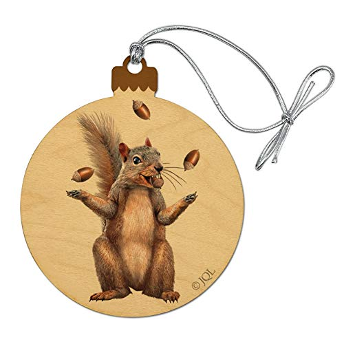 GRAPHICS & MORE Squirrel Juggling His Nuts Crazy Funny Wood Christmas Tree Holiday Ornament (Tree Squirrel Ornament)