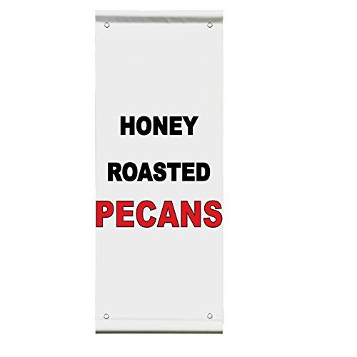 Pecan Wall Bracket - Honey Roasted Pecans Black Red Bar Restaurant Double Sided Pole Banner Sign 30 in x 60 in w/ Wall Bracket