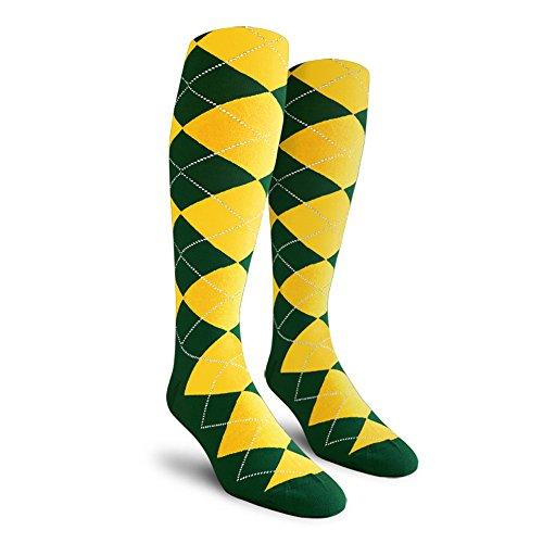Argyle Golf Socks: Over-the-Calf - Dark Green/Yellow - Mens (Mens Argyle Golf Socks)