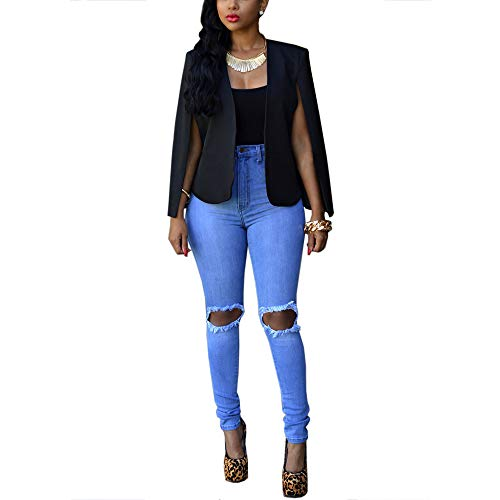 Vestes Manteau Sans Blazer Femmes Longues Open Les Manches Pour À Noir Cap Divides Élégant Front Simple Cardigan Lrud qxUBwavB
