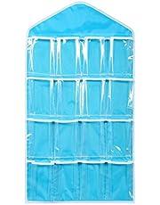 حقيبة تخزين معلقة على الحائط 16 جيبًا شفافة معلقة حقيبة الجوارب حمالة الملابس الداخلية رف شماعات تخزين المنظم