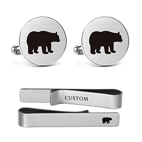 MUEEU Bear Cufflinks Engraved Animal Wedding Gift for Papa Father Dad Teddy Polar Grizzly Fozzie Honey Bears Tie Clips (Bear round Cufflinks and tie clips)
