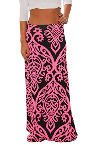 Yinggeli Women's Bohemian Print Long Maxi Skirt (XXX-Large, G-Flower)