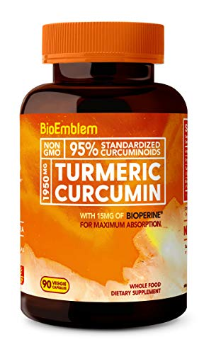 BioEmblem Turmeric Curcumin Supplement with BioPerine | Joint Support & Anti-Inflammatory | with Organic Turmeric Powder & 95% Curcuminoids Extract | California Made, Non-GMO, 30-Day Supply
