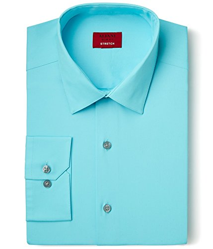 Alfani Mens Slim Fit Stretch Dress Shirt Blue M