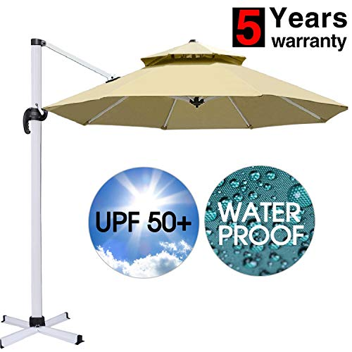 (Patiassy Rust-Free Patio Outdoor Umbrella, 10 Feet Waterpoof Windproof Double Top Patio Offset Umbrella, 5 Years No Fading Top + No Rust Aluminum Frame for Garden, Table)