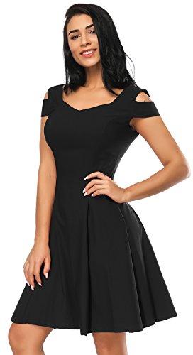 0fc823d0e Jorlyen Off The Shoulder Dress, Cold Shoulder Sweetheart A-line Cocktail  Party Dress, Junior Dresses (Black, S)