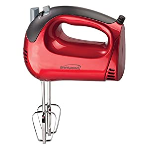 Portable Hand Mixer, Brentwood Red 5-speed Small Whisk Portable Hand Held Mixer
