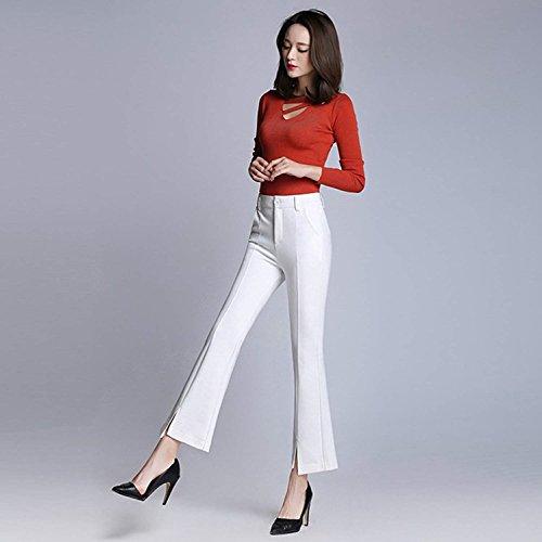 Tempo Con Pantalone Monocromo Casual Style Autunno Larghi Tasche Bianca Festa Spacco Pantaloni Primaverile Moda Libero Ragazze Elegante Fit Slim Colpo Donna FqwTZxT1