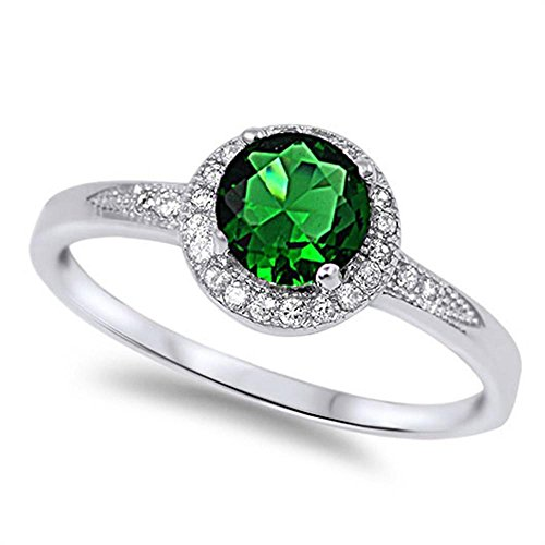 Solitaire Simulated Emerald Promise Engagement Ring .925 Sterling Silver Ring Size 5 (Emerald Solitaire)