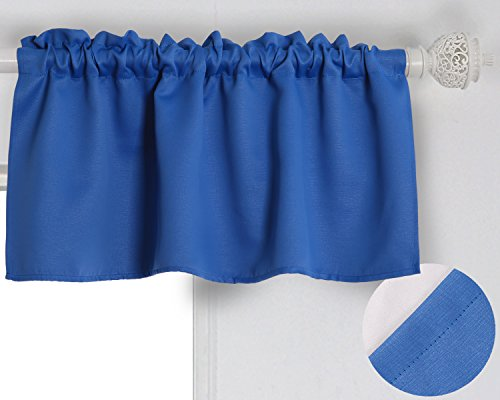 Deconovo Solid Blackout Rod Pocket Curtains Textured Embossed Valance Curtains for Kitchen Window 42x18 Inch Royal Blue 1 Panel - Window Valances Blue