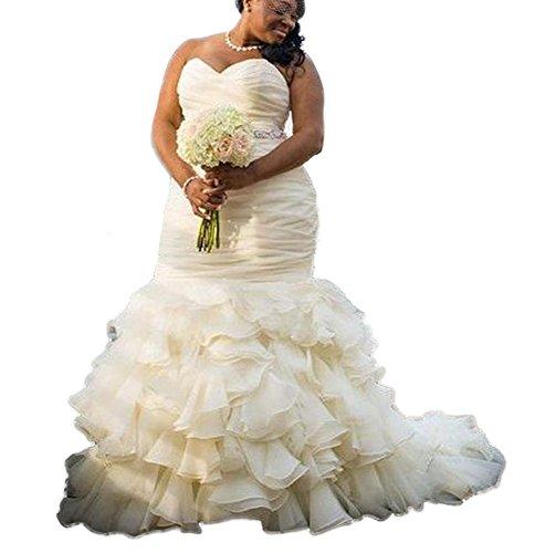 18d60b4b8783f DreHouse Women's Sweetheart Beaded Pleats Mermaid Wedding Dresses Plus Size