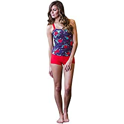 Mikarose Rhodes Modest Tankini Top In Purple & Red Floral Print