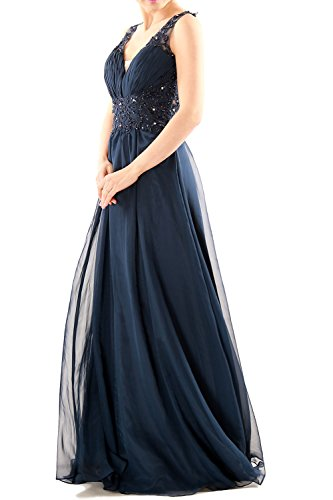 Women Long MACloth Prom Chiffon Party Gown Formal Ball Evening Lace Dunkelgrun V Dress Neck dqWYrwXY