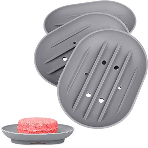 Anwenk Soap Dish, Bathroom Soap Dishes Soap Holder Soap Tray with Holes to Drain Water- Oval Shape Soap Dish for Shower Bathroom Kitchen Counter Top, Keep Bars Dry - Flexible Silicone Grey, 3 Pack