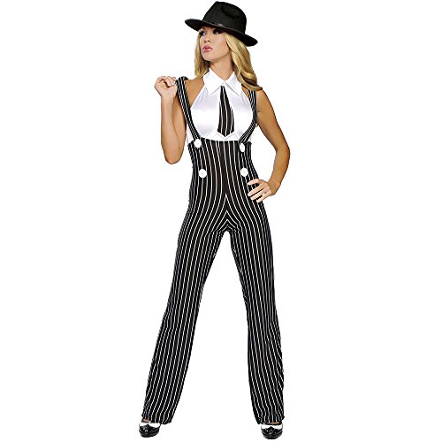 Sexy 2pc Gangsta Mama Women's Retro Mob Gangster Costume (M/L) Black -