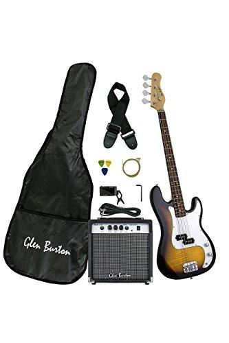Premium Solid Body Sunburst Electric Bass (Base) Guitar Combo with 15 Watt Bass Amplifier, Extra Strings, Digital Tuner, Gig Bag, Guitar Strap, & DirectlyCheap(TM) Translucent Blue Medium Pick by Directly Cheap
