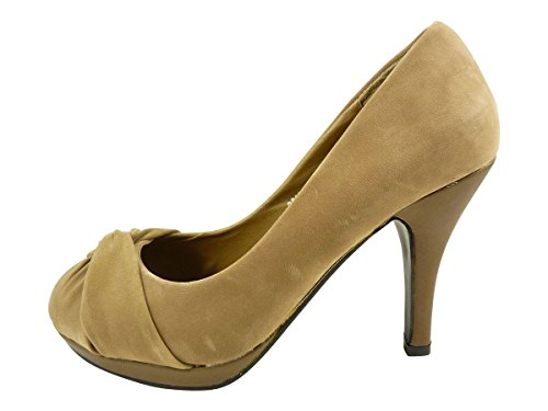 Pumps Woman Heels Taupe Suede Faux Flat High and Bow Shoes Sw5WFqEa