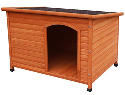 HiCaptain Waterproof Solid Cedar Pet House Deluxe Dog Kennel Universal Fits for Small Medium Large Animals (L:45 x 30.5 x 31.5 Inch, Brown)