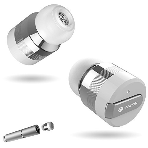 Rowkin Bit Stereo Bluetooth Headphones, True Wireless Earbuds with Mic. Smallest Cordless Hands-Free In-Ear Earphones Headsets with Portable Charger & Noise Reduction for Running and iPhone. (Silver) (Earphones Apple Wireless)