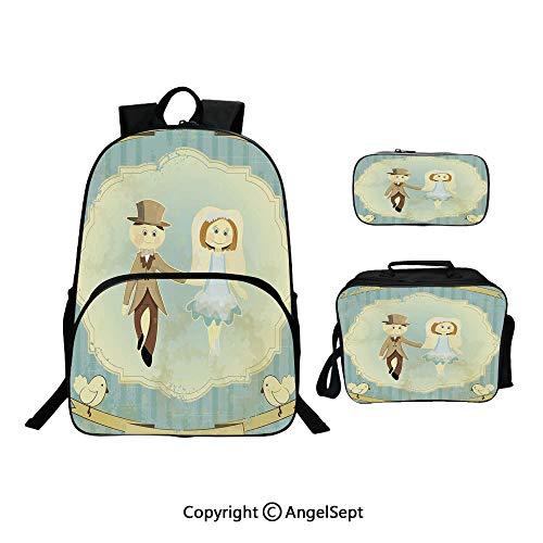 School Backpack With Lunch Bag Pencil Bag One Set,Vintage Retro Design Bride Groom Pigeons Ribbon Grunge Slate Blue Avocado Green,Lightweight Laptop Bag For Teen Boys And Girls