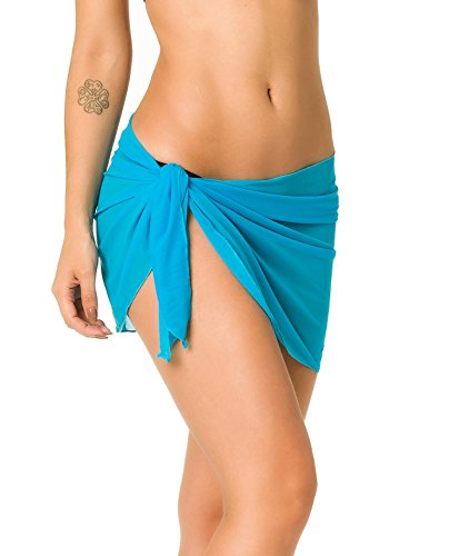 Coqueta Mesh Cover up Swimwear Beach Sarong Pareo Canga Swimsuit Wrap TURQUOISE