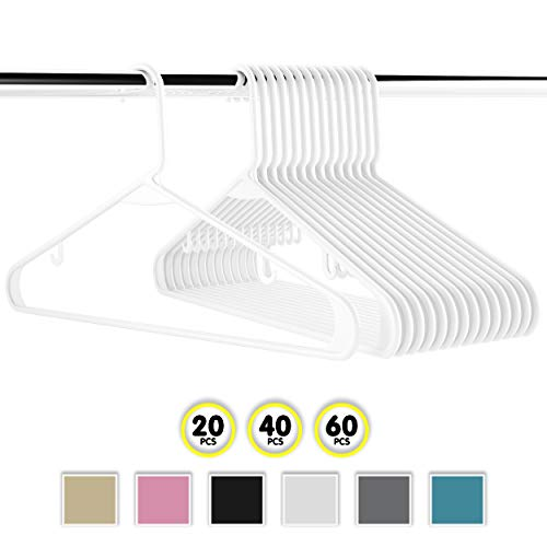- Neaterize Plastic Clothes Hangers| Heavy Duty Durable Coat and Clothes Hangers | Vibrant Colors Adult Hangers | Lightweight Space Saving Laundry Hangers | 20, 40, 60 Available (20 Pack - White)