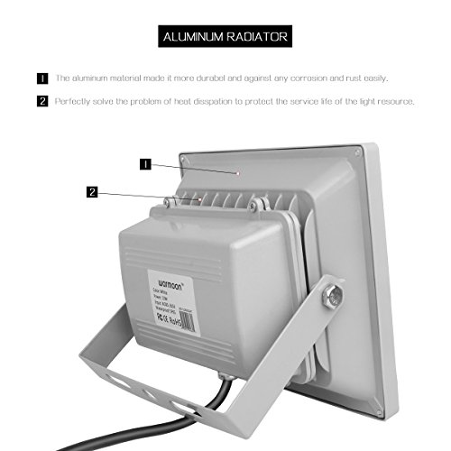 Outdoor Security Lights That Plug In: Warmoon Outdoor LED Flood Light, 30W RGB Color Changing