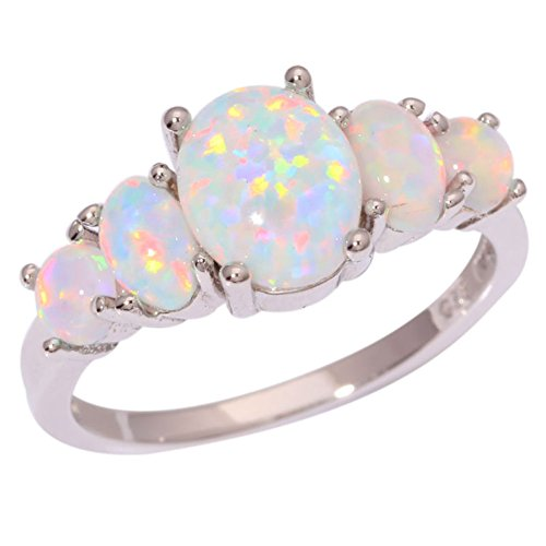 CiNily Rhodium Plated Created White Fire Opal Women Jewelry Gemstone Ring Size 5-12