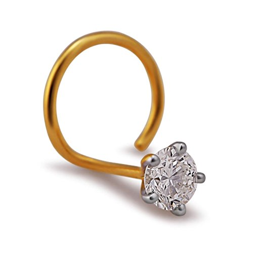 3mm 0.10 cttw White Diamond 18K Yellow Gold Nose Ring/ Screw Pin (Gauge = 22G) - 0.10 Cttw Natural
