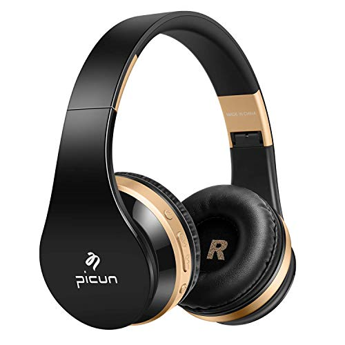 Bluetooth Wireless Headphones, Noise Isolation Headphones HiFi Earphones with Mic, Lightweight Foldable Headset, Compatible with iPhone,Ipad, iPod, Android,Samsung and FM Radio Wired Mode (Black) (05 Ipod)