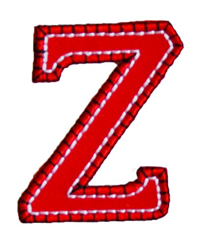 TrickyBoo Iron-On Letter Patch Craft Applique Z Red Blue 5Cm For Clothing Fabric Names Crafts Jeans To Iron On Application Sports Football Club City Kids Sew On Plate Dresses Jacket Backpack Scarf Cu