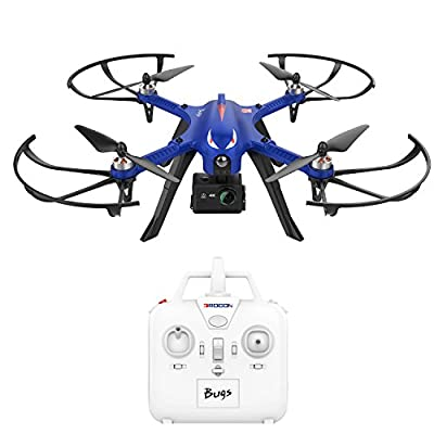 DROCON Brushless Motors Drone, Blue Bugs, 15 minutes Flying Time MJX Bugs 3 Quadcopter Support Gopro HD Camera, 300 m Control Distance