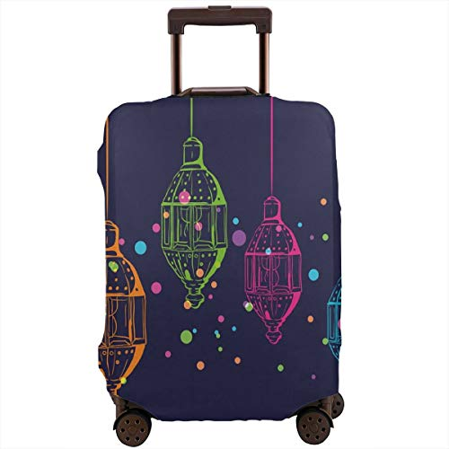 (Travel Luggage Cover,Candles In Night Sketch In With Dots Arabian Motifs Suitcase)