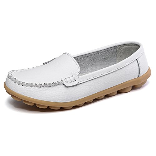 SCIEN Women's Casual Loafers Genuine Leather Driving Moccasins Slip-on Flat Shoes, White 10.5