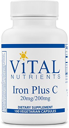 Vital Nutrients - Iron Plus C (20 mg/200 mg) - Supports Healthy Cognition and Energy Levels - 100 Capsules (Vitamin Vital C)