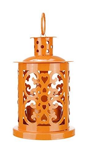 Northlight Shiny Orange Mini Votive or Tea Light Candle Holder Lantern with Dot and Scroll Cutouts, 5.5