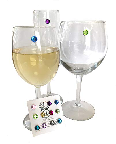 - Magnetic Wine Charms Great for Stemless Glassware and Wine Glasses, Unique Drink Markers in 12 Brightly Colored Gemstone Magnets Set