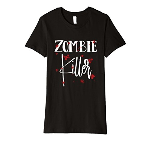 Woman Zombie Killer Costume (Womens Halloween Costume Zombie Killer Bloody T-Shirt Large Black)