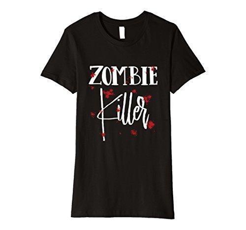 Zombie Killer Halloween Costume (Womens Halloween Costume Zombie Killer Bloody T-Shirt Large Black)
