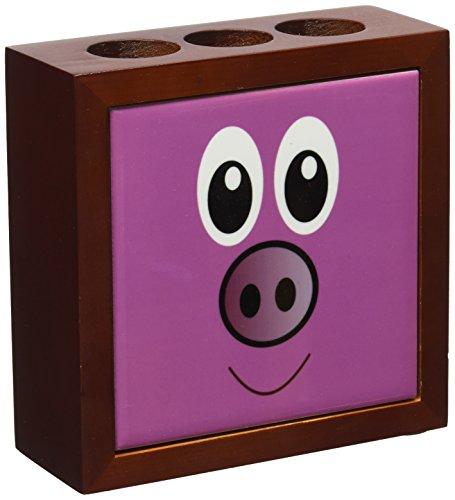 Rikki Knight Pig Cartoon Face Design  Inch Tile Wooden Ti...