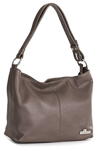 LiaTalia Genuine Italian Leather Uniquely Adjustable Strap Medium Sized Shoulder Hobo Bag - Emmy [Dark Taupe]