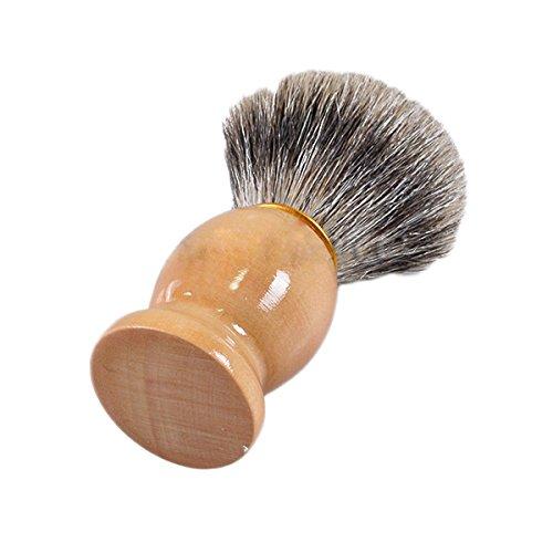 MSmask Cepillo de afeitar puro del pelo del tejón Con escobillas de afeitar de mango de madera