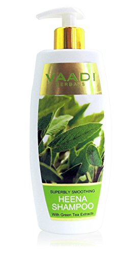 Heena with Green Tea Extracts Shampoo  Smoothing Shampoo  ALL Natural Herbal Shampoo Paraben Free Sulfate Free Scalp Therapy  Moisture Therapy Suitable for All Hair Types 12.3 Ounces Vaadi Herbals (Alcohol Free Herbal Shampoo)