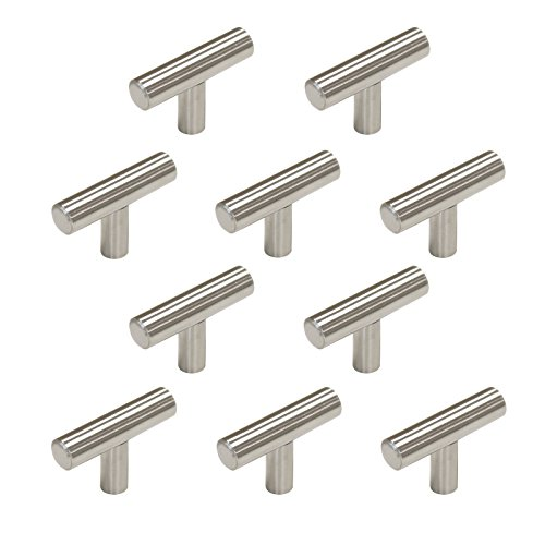 Probrico 10 Pack Brushed Stainless Steel Single Hole T Bar Cabinet Knobs and Pulls Door Cupboards Drawers Dresser Bedroom Furniture Handles 2 inch Overall Length Stainless Steel Diameter 1/2 inch ()